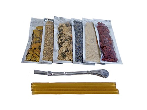 Organic Herbal Tea Sampler Kit + Tea Straw: Chrysanthemum Flower, Ginger - Cut & Sifted, Goji Berries, Honey Crystals, Honey Sticks, Lavender, Sliced Turmeric Root