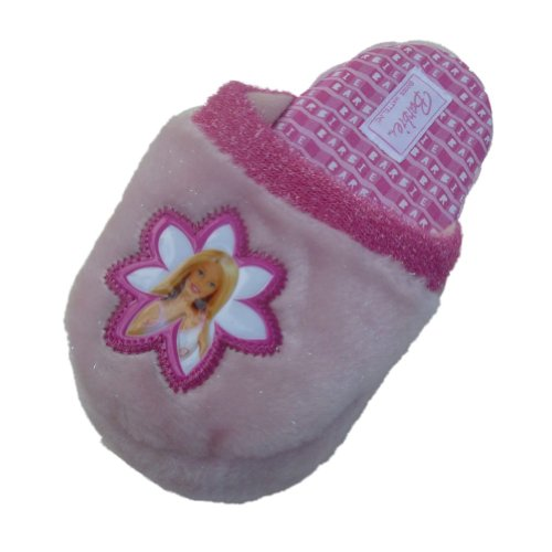 Barbie Girls Plush Pink Slippers Doll House Shoes X-Large (4-5)