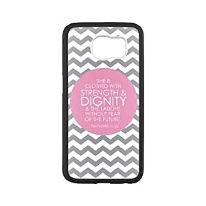 Bible Verse Samsung Galaxy S6 Protective Case - Grey and White She is Clothed with Strength and Dignity Proverbs 31:25 TPU(Laser Technology) Hardshell Cell Phone Cover Case for New Samsung Galaxy S6