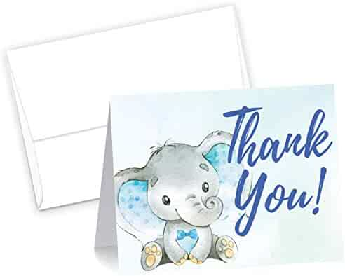 50 Blue Watercolor Boy Elephant Cute Baby Shower Thank You Cards, Double Sided Blank Inside with Envelopes- Made in the USA