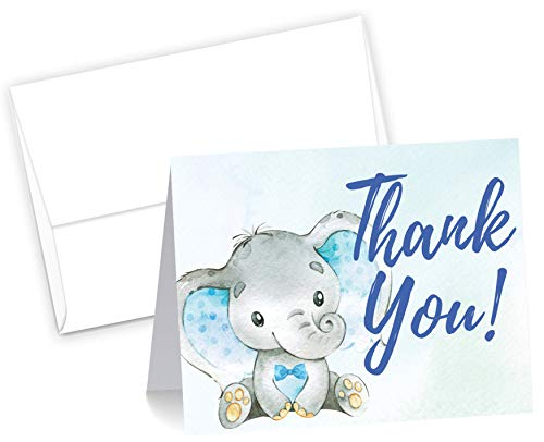 50 Blue Watercolor Boy Elephant Cute Baby Shower Thank You Cards, Double Sided Blank Inside with Envelopes- Made in the USA]()