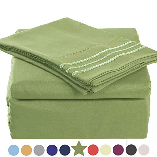 TEKAMON Premium 3 Piece Bed Sheet Set 1800TC Bedding 100% Microfiber Polyester - Super Soft, Warm, Breathable, Hypoallergenic, Wrinkle and Fade Resistant - 10-16 Extra Deep Pockets, Twin, Green