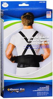 Sport Aid 9 in Black Back Brace with Suspenders MD/LG - Each, Pack of 2 by SportAid