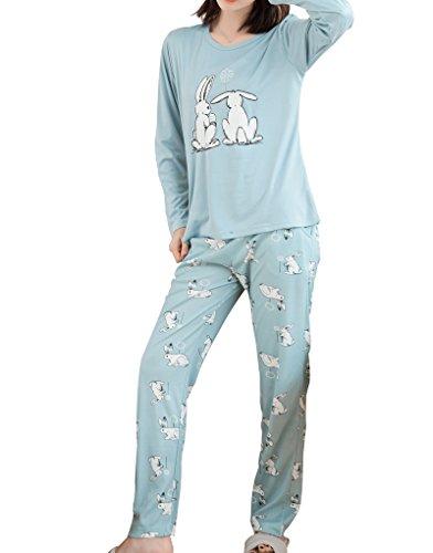 MyFav Big Girls Cute Couple Rabbits Spring Nightwear Florals Pajamas Sleepwear