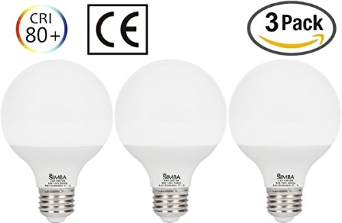 [3 Pack] Simba Lighting LED G25 Globe 9W 900lm 60W Incandescent Equivalent 270° Beam Angle 120V for Vanity Makeup Lighting, Standard Medium E26 Base, PC Cover, Non-Dimmable, Daylight 5000K - Standard Vanity Lighting