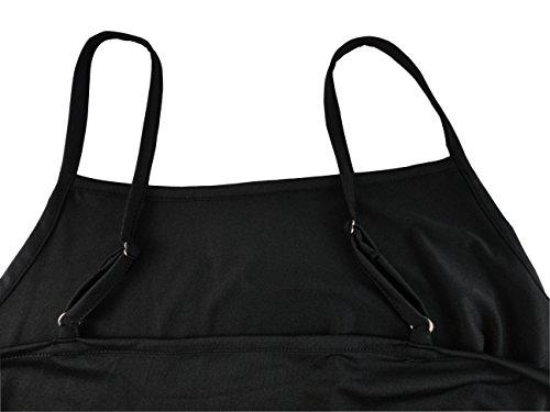 Strap Knee Slip IneShe Bodycon Black Women's Sexy Above Camisole Dress Under Adjustable Spaghetti qfSOw1