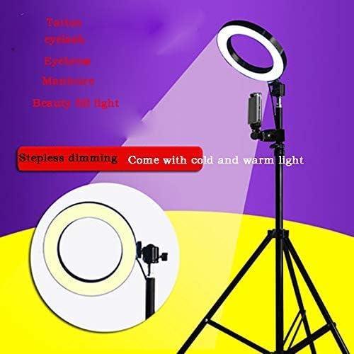 6-Inch LED Ring Fill Light 3 Color Adjustable Live Multi-Function Spotlight//with Tripod Desktop Beauty Aperture Light