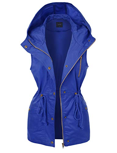 LE3NO Womens Zip Up Anorak Military Cargo Vest with Hoodie, BLUEDENIM, Small
