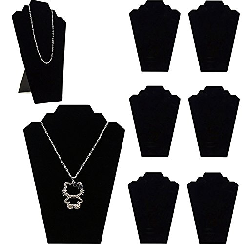 Adorox Black Velvet Padded Necklace Easels Jewelry Display Showcase Tower Stand (6) - Padded Necklace Display Easel