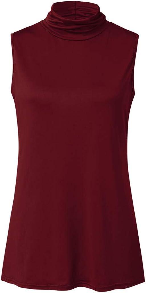 Weginte Women Turtleneck Blouse Solid Color Slim Fit Sweatshirt Casual Cozy Pullover Sleeveless Lightweight Vest Tunic Top