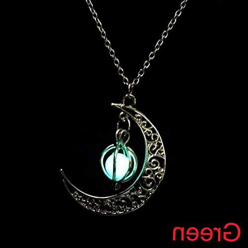 Kaputar Glow in The Dark Moon Pumpkin Pendant Luminous Stone Necklace Silver Jewelry | Model NCKLCS - 16233 | ()
