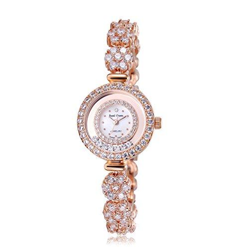 Royal Crown Women's Quartz Watch Luxury Silvery Rhinestone Bangle Watch Jewelry Waterproof Women Fashion Wrist Wrist Watch