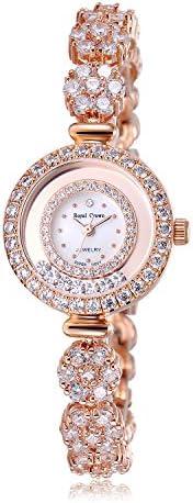 RC ROYAL CROWN Women's Quartz Watch Luxury Silvery Rhinestone Bangle Watch Jewelry Waterproof Women Fashion Wrist Wrist Watch
