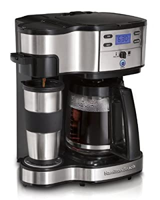 Hamilton Beach 49980Z Two Way Brewer Single Serve and 12-cup Coffee Maker, Stainless Steel
