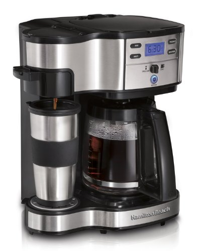Hamilton Beach 49980A Single Serve Coffee Brewer and Full Pot Coffee Maker, 2-Way (Single Travel Coffee Maker compare prices)