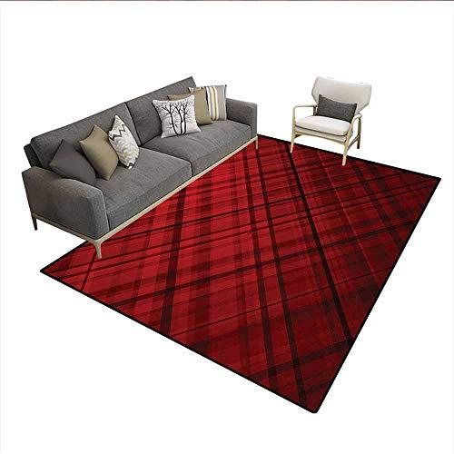 - Carpet,Scottish Kilt Design Pattern with Stripes Lines Squares Ombre Image,Non Slip Rug Pad,Burgundy and ScarletSize:5'x6'