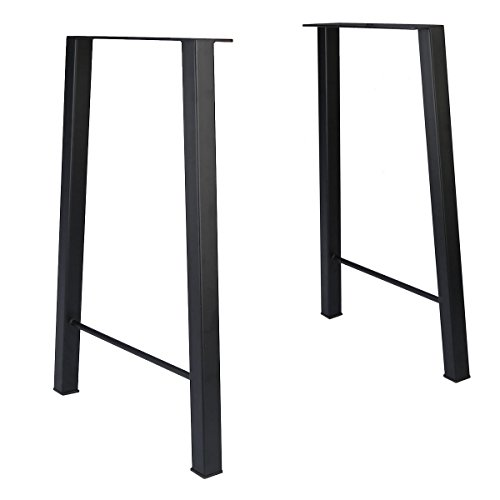 Tengchang 28'' Industry Trapezoid Dinner Table Leg Metal Cast Iron Bench Legs Set of 2