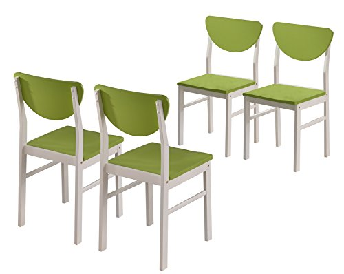 Kings Brand Furniture Kitchen Wood Side Chair (Set of 4), White/Green