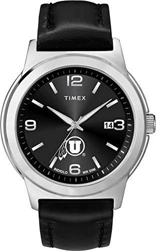 (Timex Men's University of Utah Utes Watch Black Leather Band Ace)