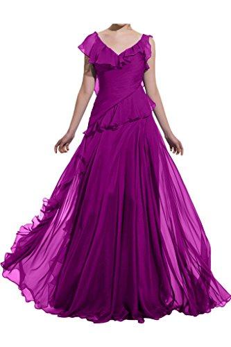 Festkleid Linie A V Ballkleid Stilvoll Promkleid Abendkleid Chiffon Damen Ivydressing Fuchsie Partykleid Ausschnitt wvqHUvX