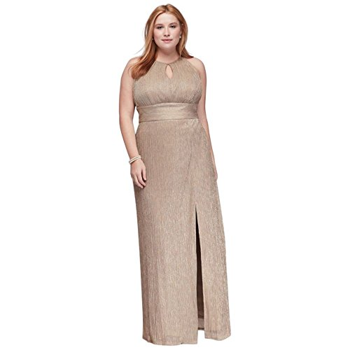 a352ef83041 David s Bridal Metallic Keyhole Plus Size Halter A-Line Mother of  Bride Groom Dress Style.