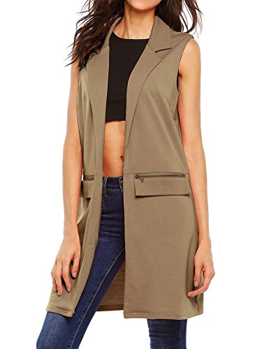 Beyove Women's Sleeveless Long Open Cardigan Vest Blazer Vests,XX-Large,Khaki by Beyove (Image #1)