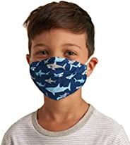 Hatley Kids' Double Layer Face Mask with Ear Elastic, Shark Frenzy, One Size(Pack o