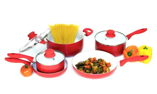 Heuck 30119 Classics Series Nano 8-Piece Ceramic Cookware Set, Red