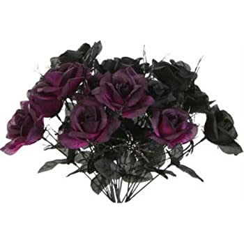 Amazon Com 1 Black 1 Purple Rose Bush Bouquet Floral Halloween 6