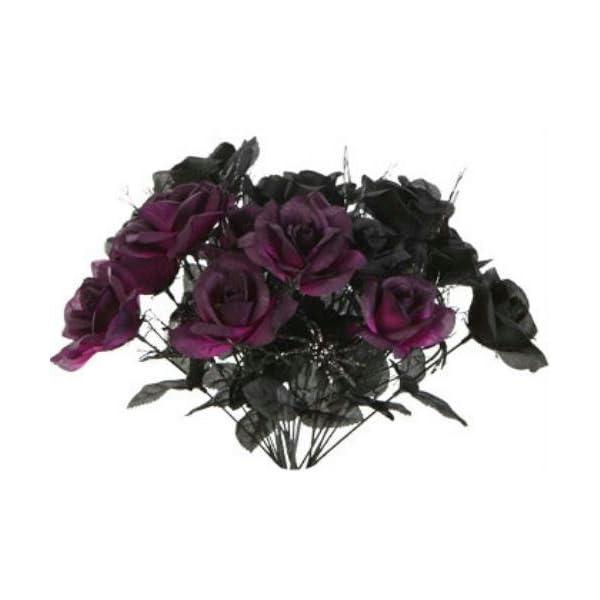 1 Black & 1 Purple Rose Bush Bouquet Floral Halloween 6 Stem 14″ each