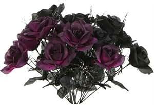 """1 Black & 1 Purple Rose Bush Bouquet Floral Halloween 6 Stem 14"""" each"""