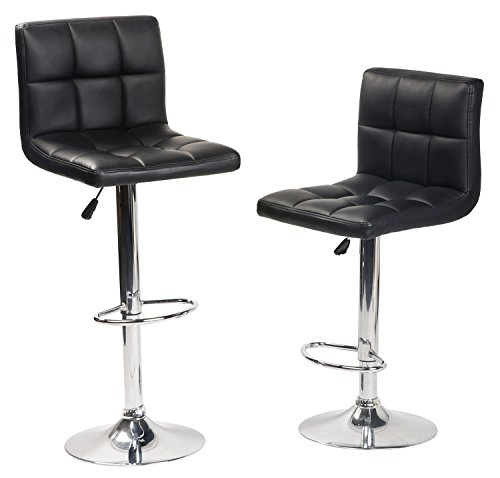 Merax Luxurious Bonded Leather Modern Swivel Air Lift Adjustable Cafe Bar Stools Dinning Chair Silvery,Set of 2