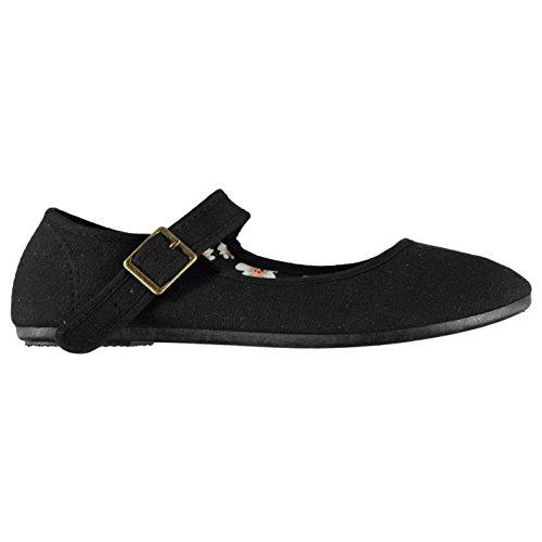 Slazenger Jane Femmes De Toile Noir Chaussures Merceditas Mary YxY6wZSOrq