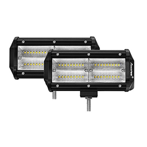 LED Light Bar Autofeel Amber White Quad-Row 2 Pcs 7 inch Dua