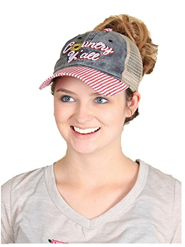 Ashlyn Rose Country Yall High Ponytail Bun Vented Trucker Cap Hat Red Black Gray (Pin (Tail Striped Hat)