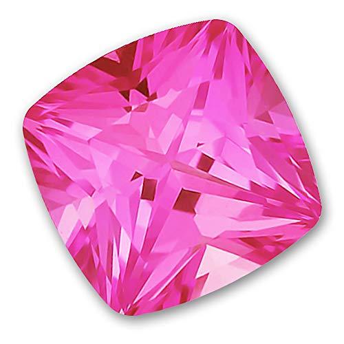 7x7mm Square Cushion Cut Gem Quality Chatham Lab-Grown Pink Sapphire Weighs 1.93-2.36Ct, Medium Tone.