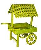 Green Wooden Vendor Cart Planter
