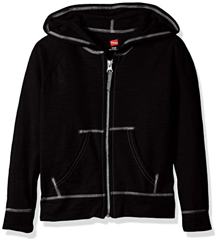 Hanes Girls' Slub Jersey Full-Zip Hoodie Black XL