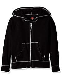 Hanes Girls Slub Jersey Full Zip Jacket