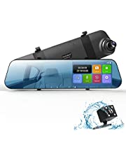 "DuDuBell Dash Cam, 4.3"" Touch Screen Mirror Dash Cam, Dual Dash Cam with 1080P Front cam and IP 68 Waterproof LED Rear Cam, 290 Degree Wide Angle DVR, Dashcam with 6G and HDR"