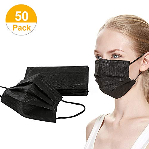 50 Pack Disposable Face Masks Unisex Four Layers (Activated Carbon) Breathable Dust Filter Mouth Masks, Anti Flu Fog Pollution Germs Allergens(Black, Individual Packaging + Inner Box)