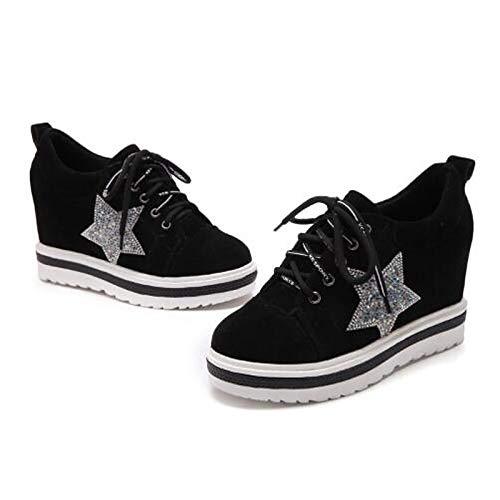 ZHZNVX Zapatos de Mujer Suede Spring Comfort Sneakers Creepers Round Toe Negro/Verde / Marrón Oscuro Black