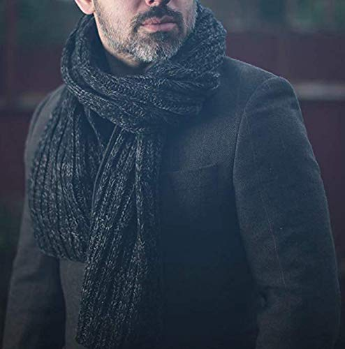 Cable Knitted Scarf for Men Super Soft Cashmere Feel Autumn Winter Fashion