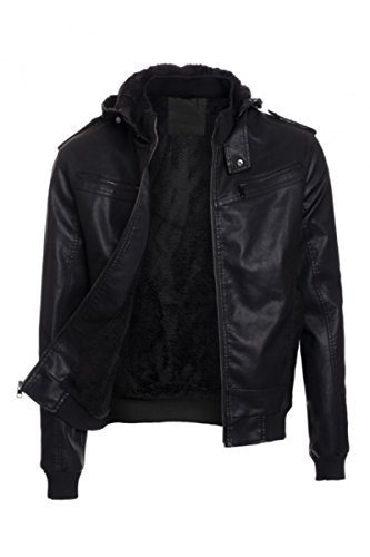 Mens Solid PU Leather Jacket Hoodie Sherpa Fur Lined Zipper Front Moto Coat with Detachable Hoodie - Bay Leather Jacket