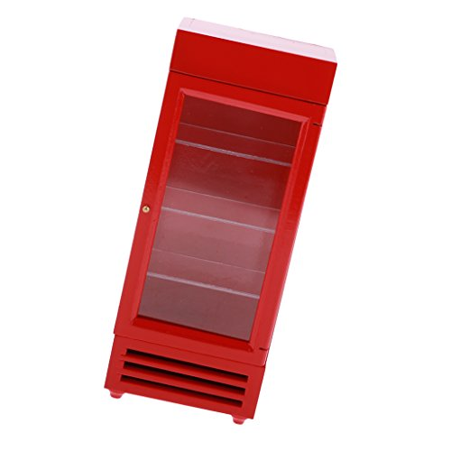 Fenteer おもちゃ コレクション 1/12スケールミニチュア ドールハウス 冷凍庫 垂直冷蔵庫モデル 2色選ぶ - 赤