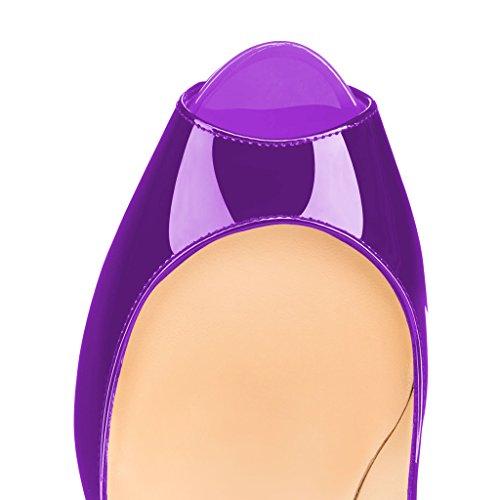 Pompe Fsj Donne Grazioso Peep Toe Tacchi Alti Con La Piattaforma Slittamento Sul Partito Scarpe Da Ballo Dimensioni 4-15 Noi Viola-brevetti