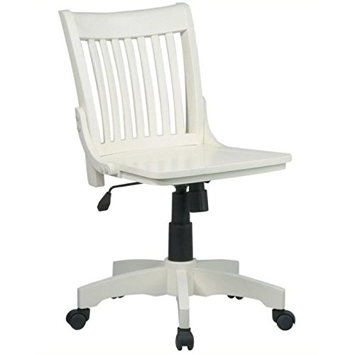 Bowery Hill Armless Wood Banker's Office Chair in Antique White (Wood Bankers Chair Armless)