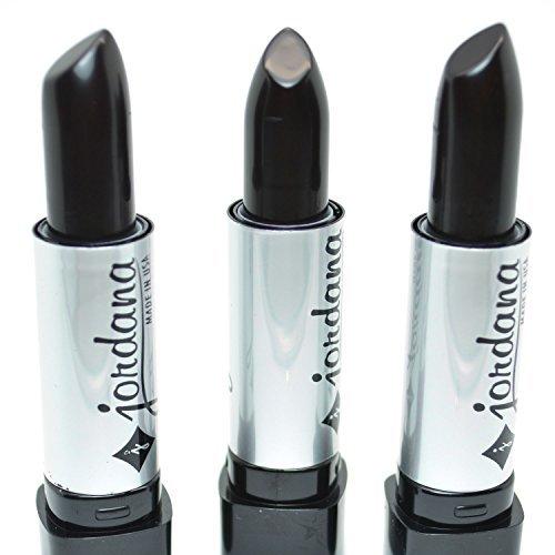 LOT OF 3 JORDANA # 089 BLACK COLOR CREAM LIPSTICK LS-089 MADE IN USA + FREE EARRING by Jordana (Best Lipstick Brand In Usa)