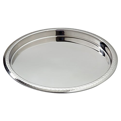 "Elegance Stainless Steel Hammered Rim Bar Tray, 14"" Diameter, Silver"