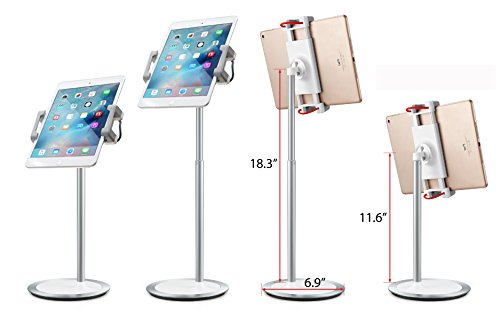 idee PTS02W Height & Angle Adjustable Commercial Graded Aluminum Table Stand for iPads Tablets and Smart Phones, 360 Degree Rotate Mount Designed for Store POS, Office & Home Desktop and more by idée (Image #1)